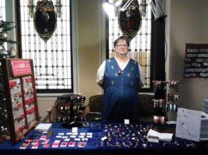 Sandy's ready to sell some jewelry!