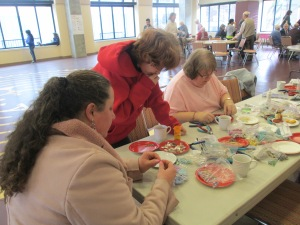 The ladies of First Christian - making their pieces and having a grand time!